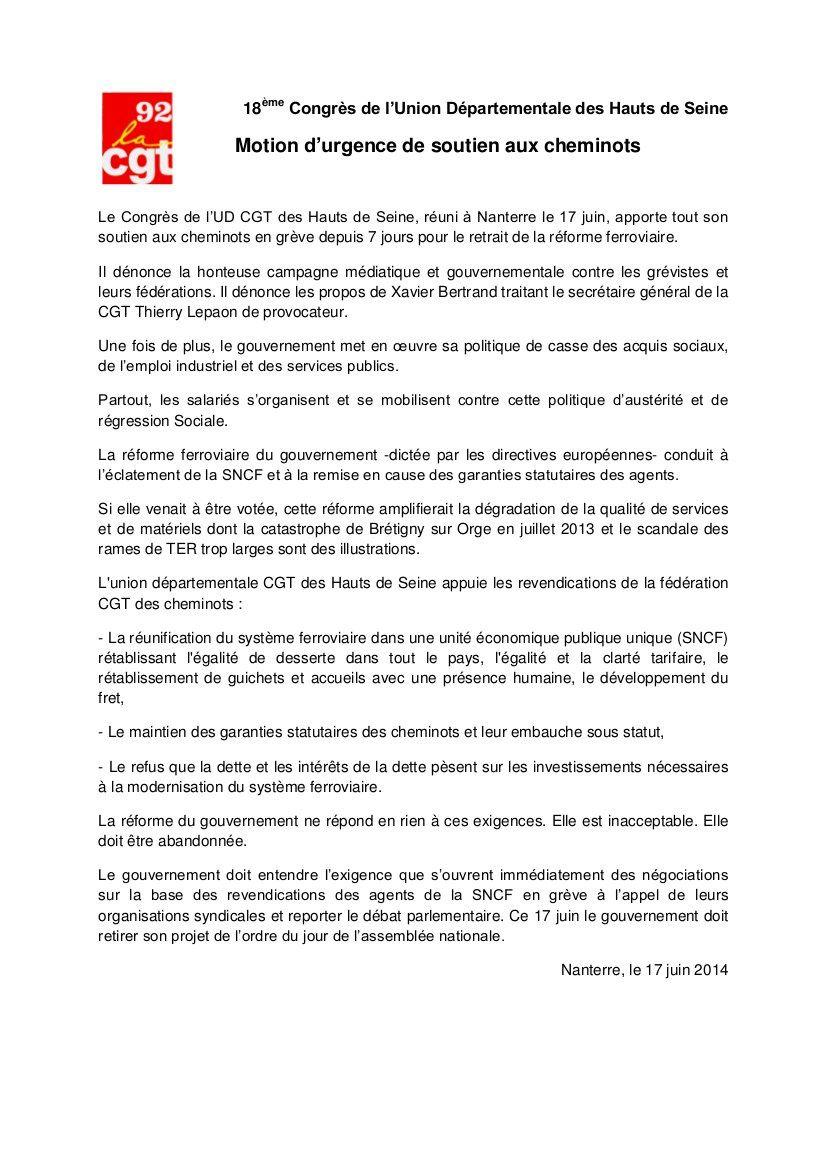 Le 18e congrès de l'UD CGT des Hauts de Seine exprime sa pleine solidarité aux cheminots