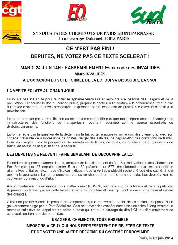 Cheminots, usagers mardi 24 Invalides à 14 heures!