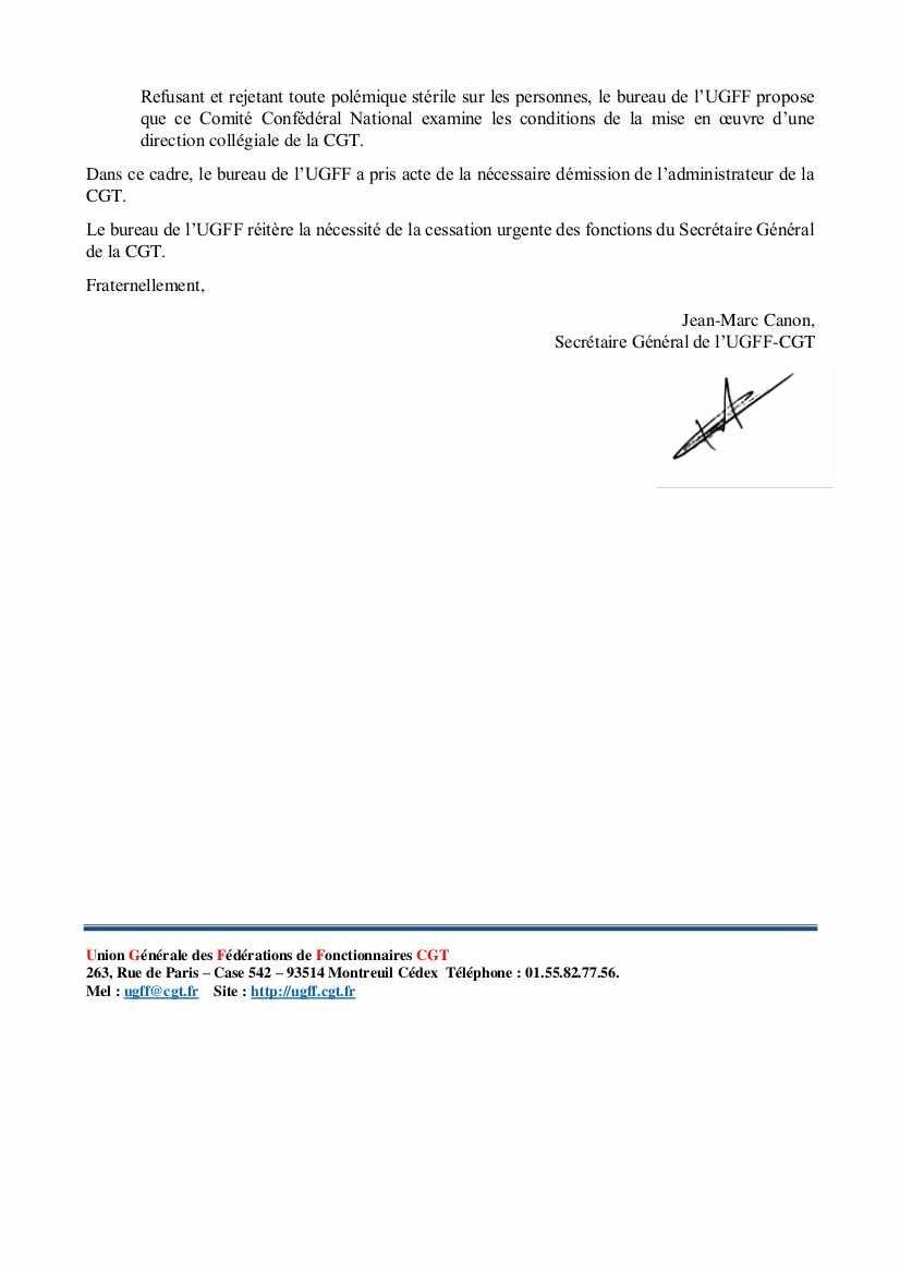 CGT, Fédération des Fonctionnaires : cessation urgente des fonctions du secrétaire général