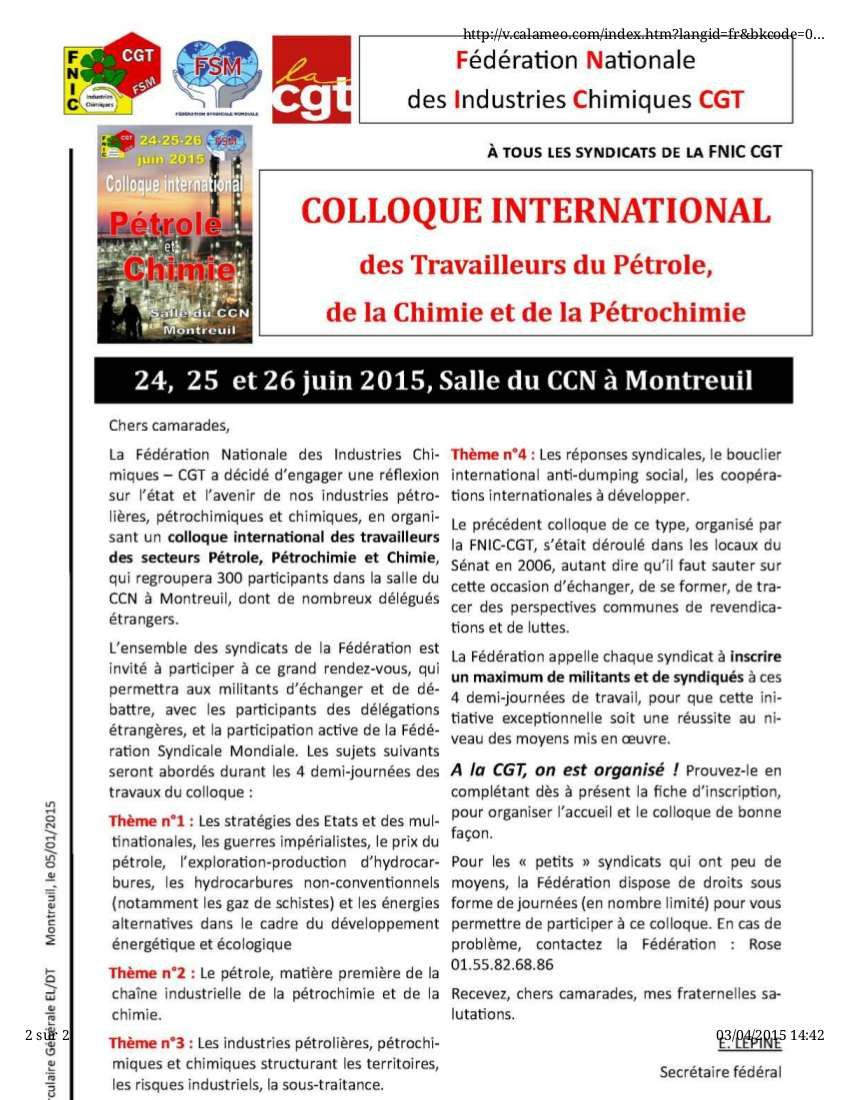 Colloque international de la fédération chimie CGT : on attend impatiemment la réponse de Ph. Martinez