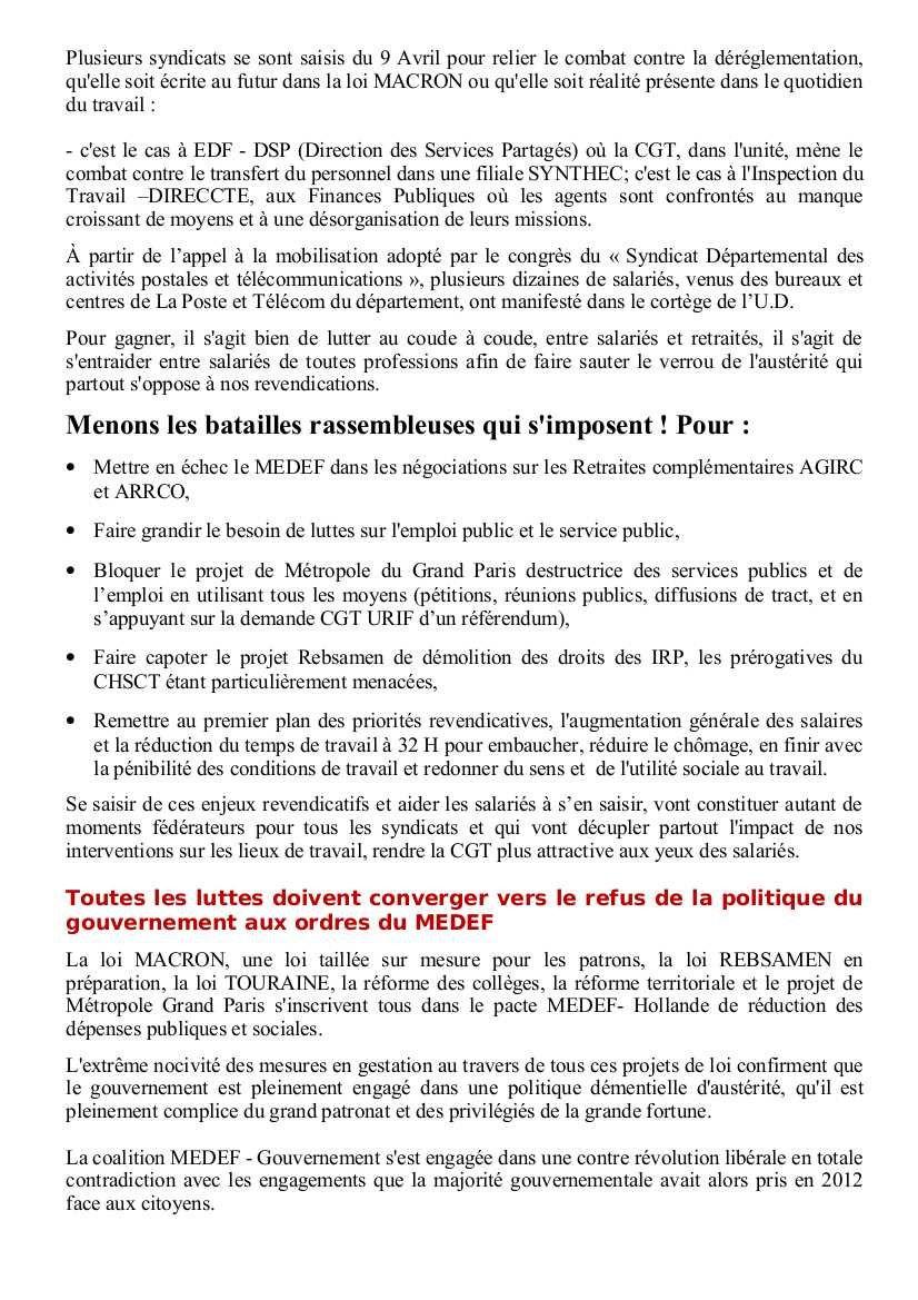 Adresse de l'UD CGT du 92 aux salariés du département