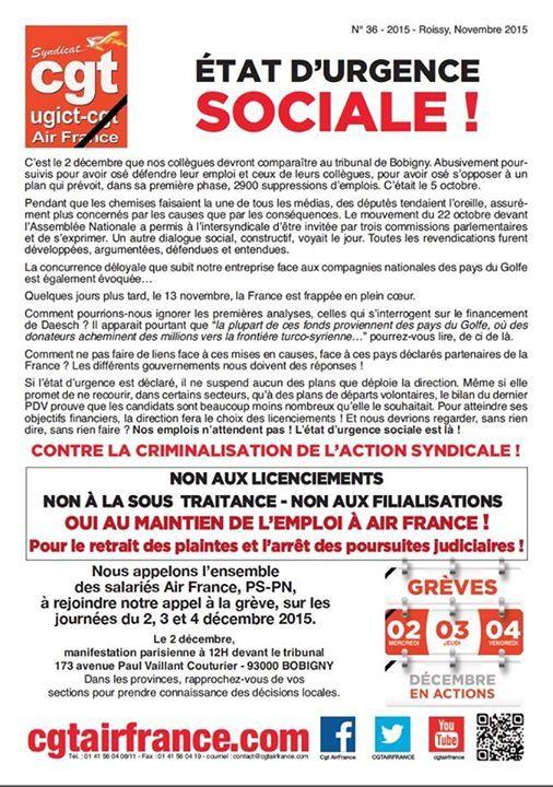 Air France le 2 décembre : Urgence sociale