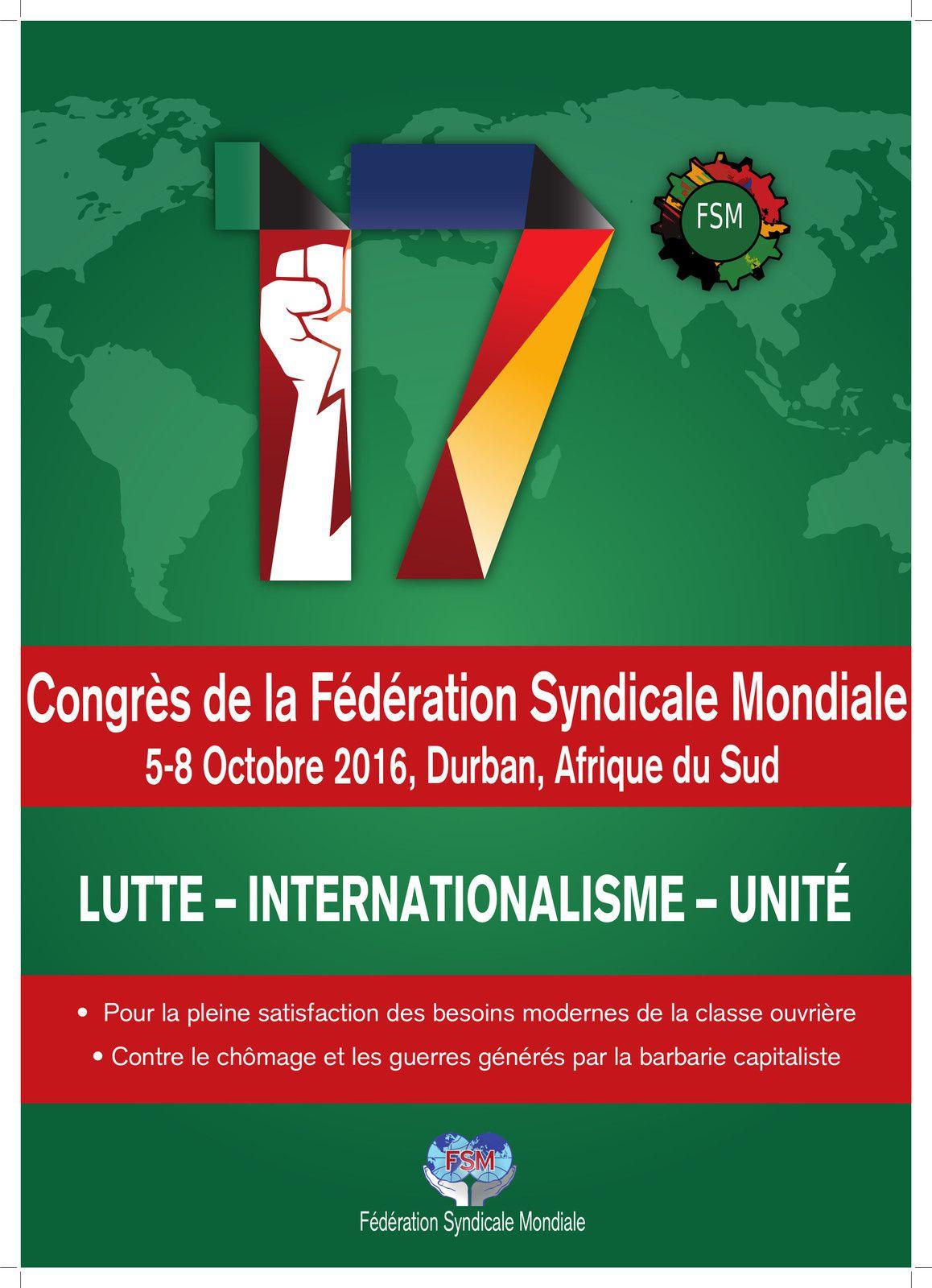 Prochain congrès de la FSM en octobre 2016 à Durban
