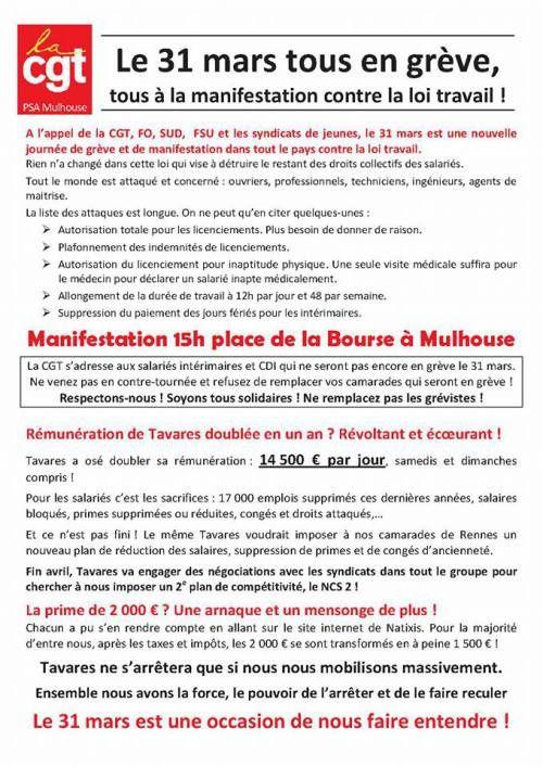PSA Mulhouse dans l'action le 31 mars