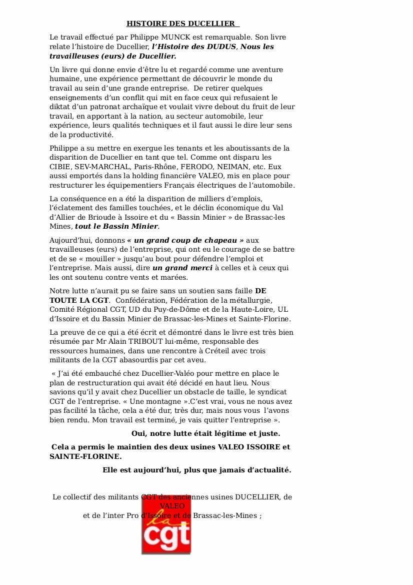 histoire des Ducellier et de leurs luttes pour vivre debout de Philippe Munck
