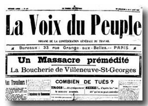 Une de la Voix du Peuple au lendemain de la répression de la grève de Villeneuve-Saint-George