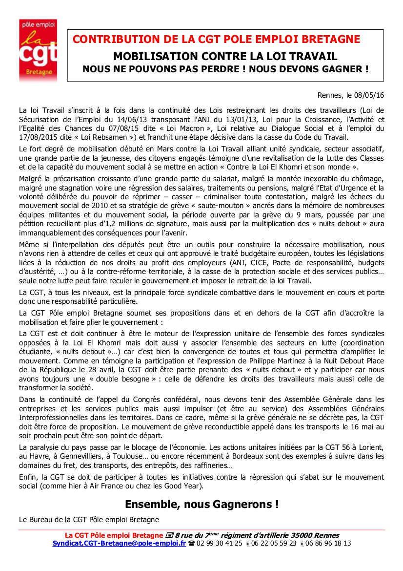 CONTRIBUTION DE LA CGT POLE EMPLOI BRETAGNE
