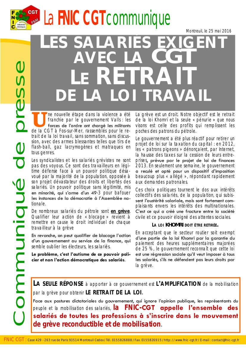 Fédération chimie CGT : s'inscrire dans le mouvement de grève reconductible et de mobilisation