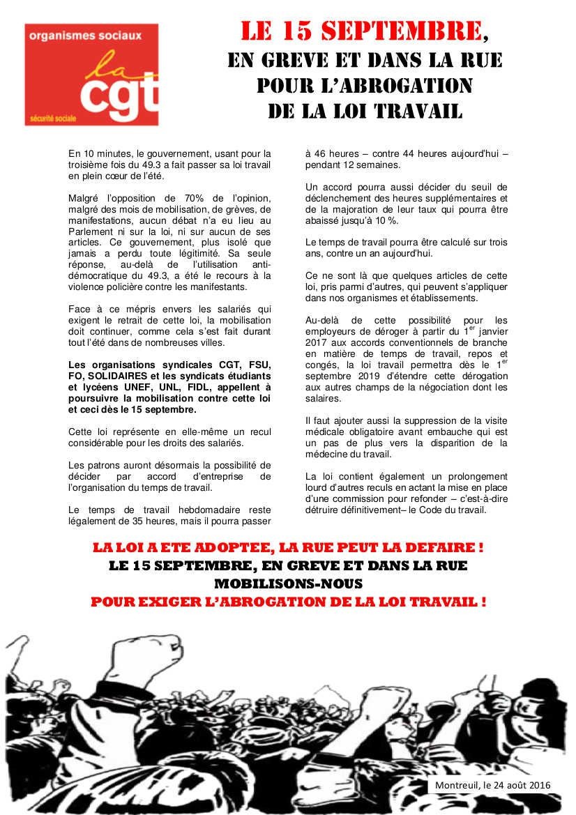 CGT Organismes sociaux : Le 15 septembre en grève et dans la rue pour l'abrogation de la loi travail
