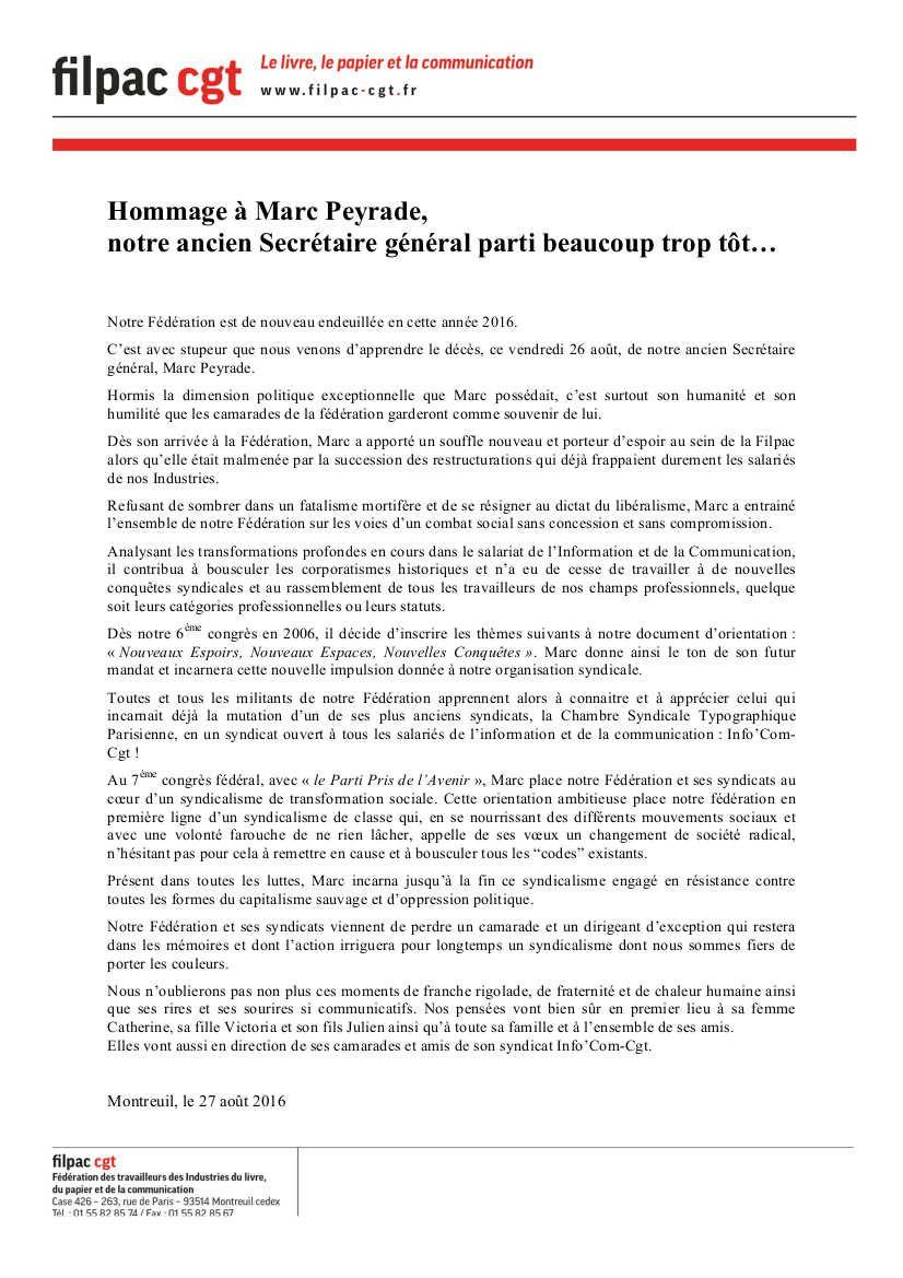 Filpac CGT : hommage à Marc Peyrade