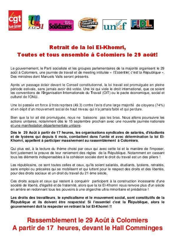 Valls n'est pas le bienvenu dans les terres de Georges Séguy : rassemblement unitaire le 29 Aout