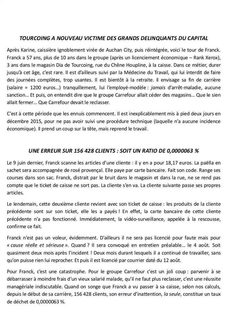 Après Karine d'Auchan, Franck de Dia de Tourcoing : la grande distribution et le capital appliquent la loi anti-travail!