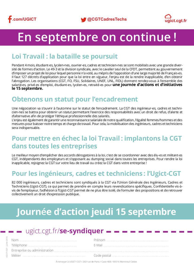 15 septembre : ingénieurs, cadres, techniciens ... CGT dans la lutte!