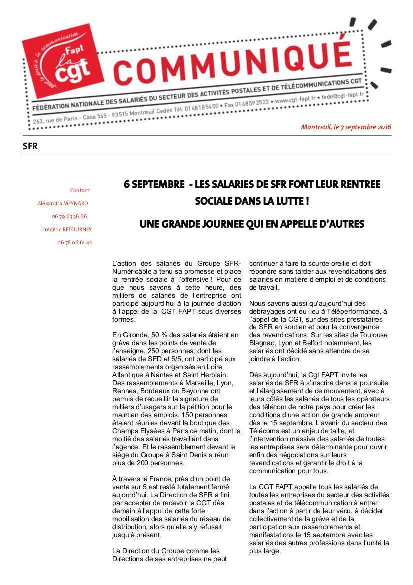 SFR : succès de la grève et poursuite de l'action contre les licenciements le 15 septembre avec l'ensemble des travailleurs!