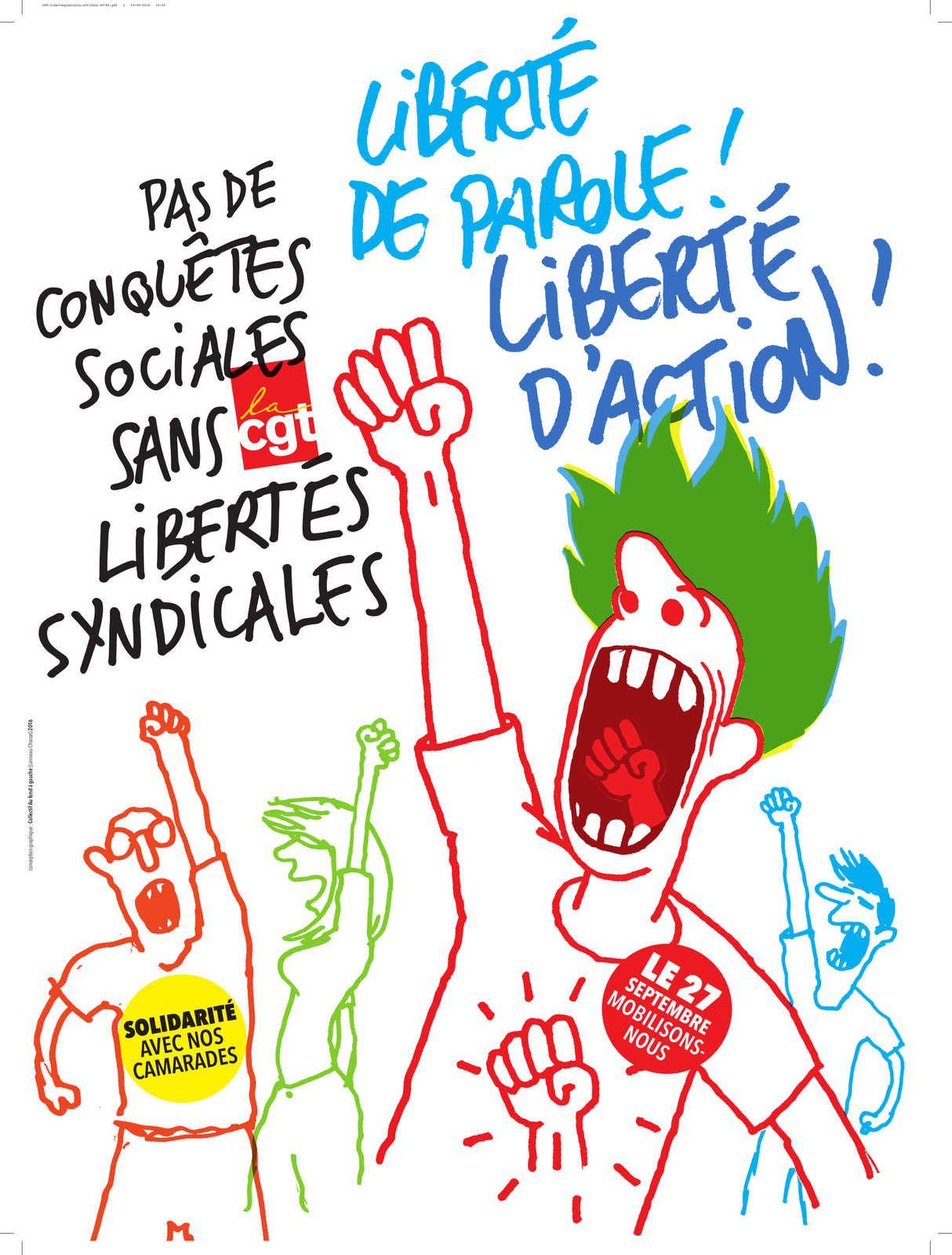 Le 27 septembre : Journée de mobilisation pour le respect des libertés syndicales!