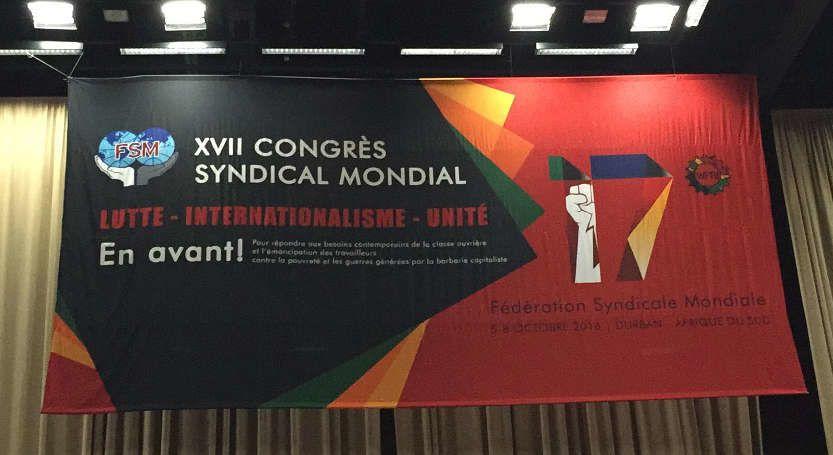 5 octobre, ouverture du 17e congrès de la Fédération Syndicale Mondiale à Durban : 1500 délégués ont démarré les travaux