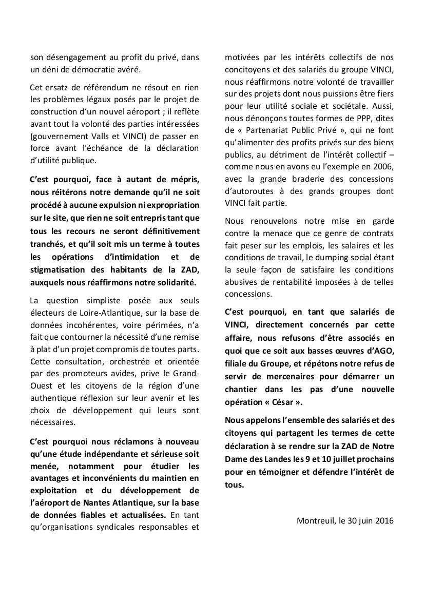 La CGT Vinci opposée à la construction de l'aéroport Notre-Dame-Des-Landes