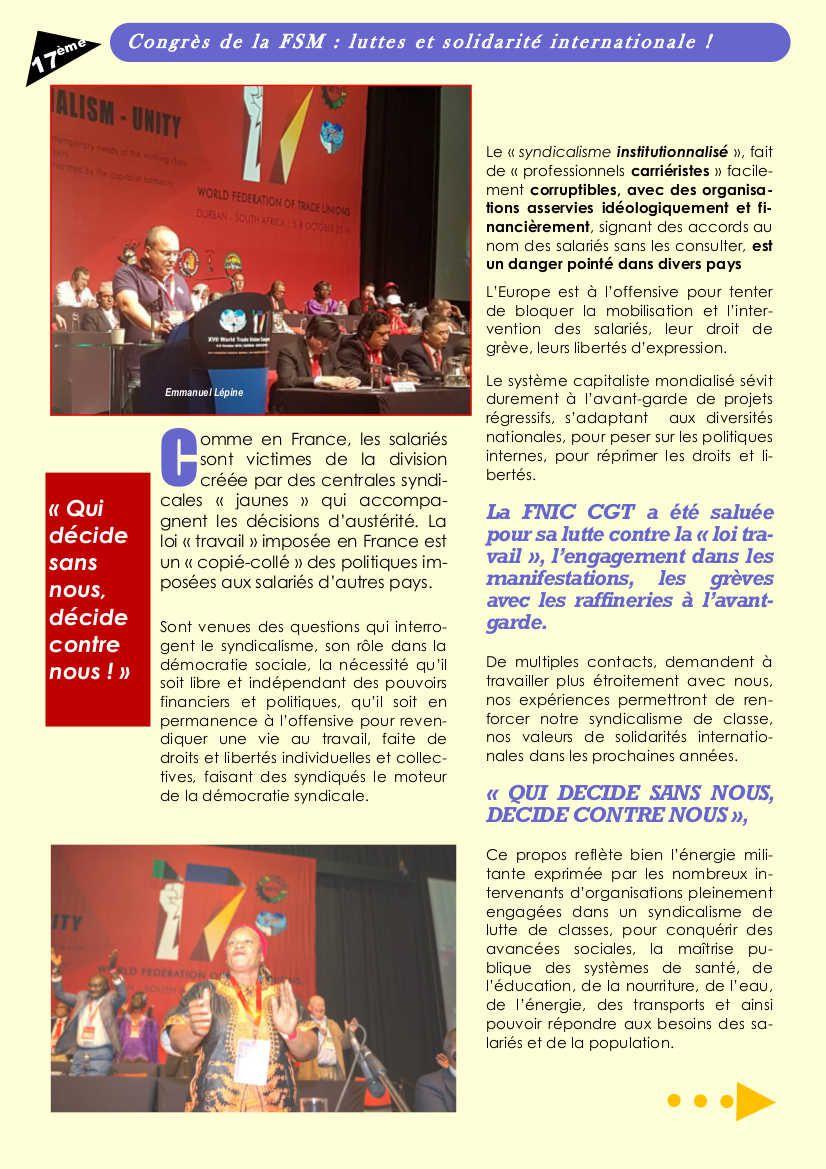 Le 17e congrès de la FSM vu par la Fédération CGT de la Chimie