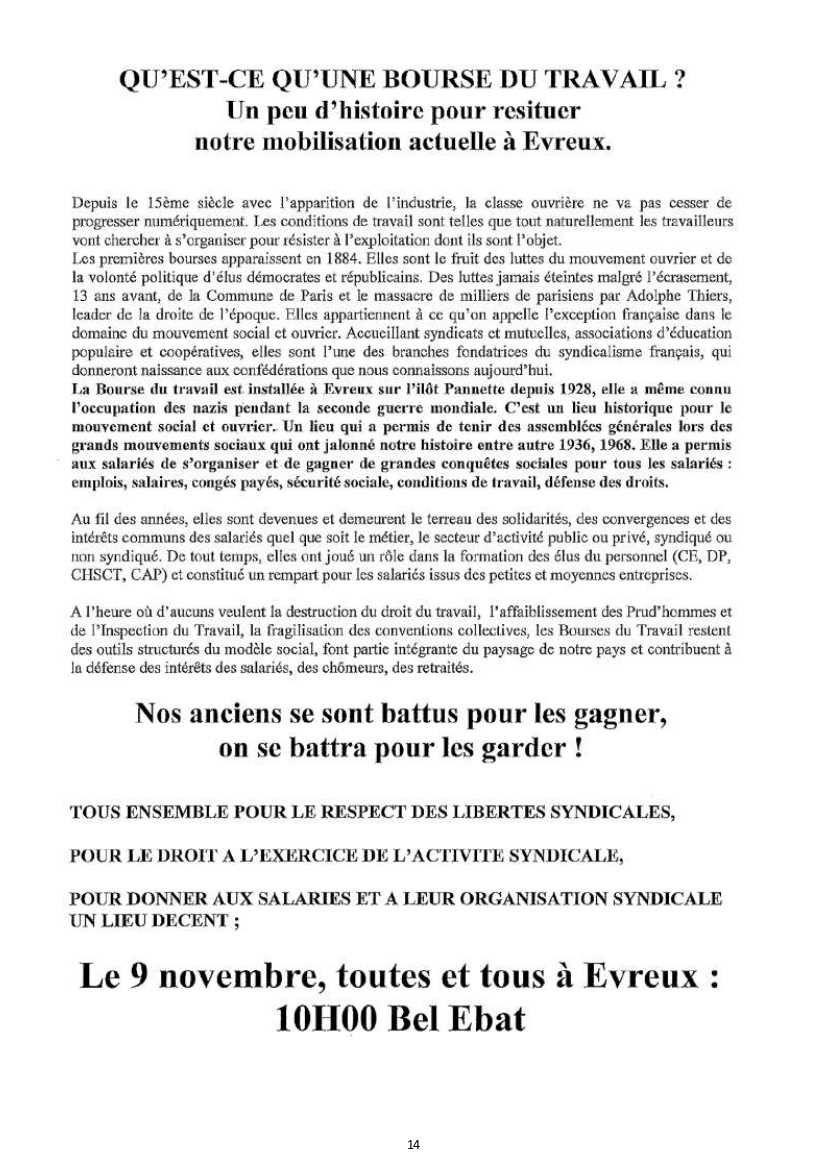 EURE :Répression syndicale à l'oeuvre et défense des Bourses du travail
