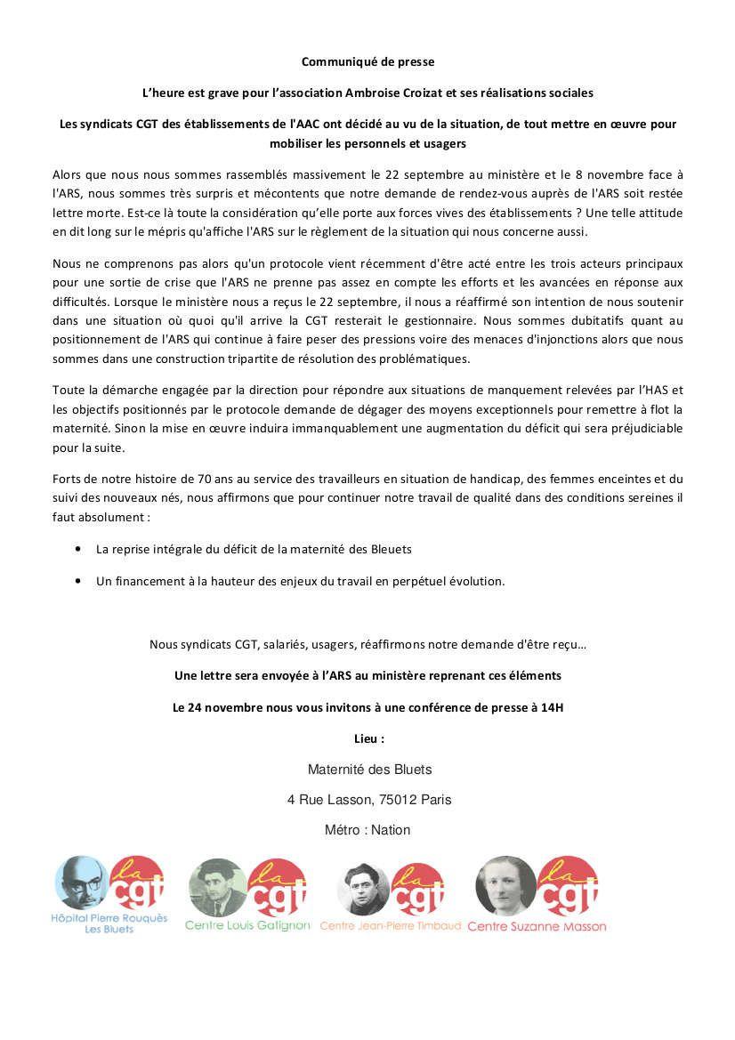 Pour la défense des Bluets et de ses personnels : rassemblement le 24 novembre