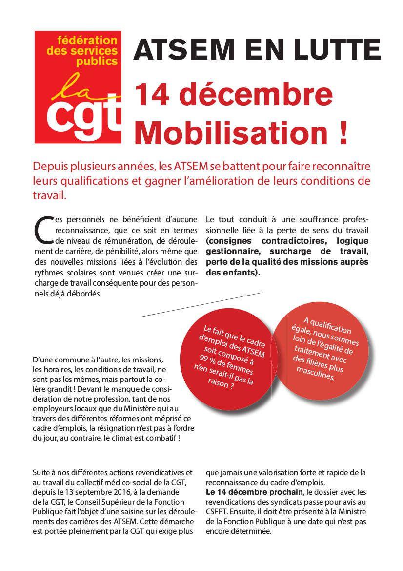 14 décembre : grève  des agents territoriaux spécialisés des écoles maternelles