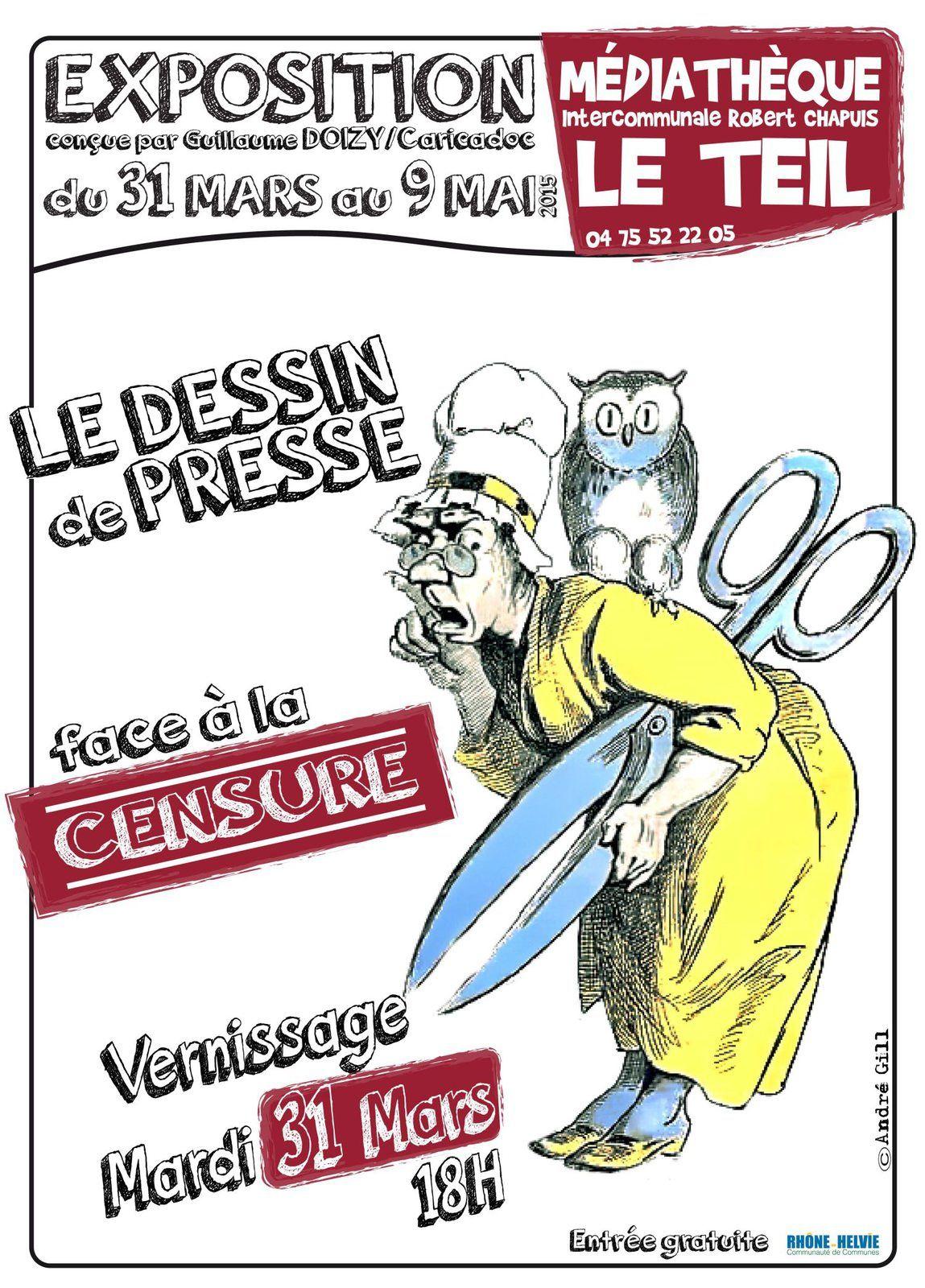 Caricature, dessin de presse, religion et censure : exposition, conférence, projections et table ronde à la médiathèque de Le Teil (près de Montélimar)