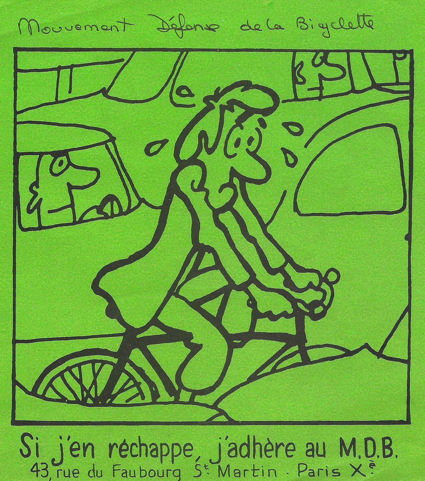 Tract du M.D.B. (Mouvement de Défense de la Bicyclette)