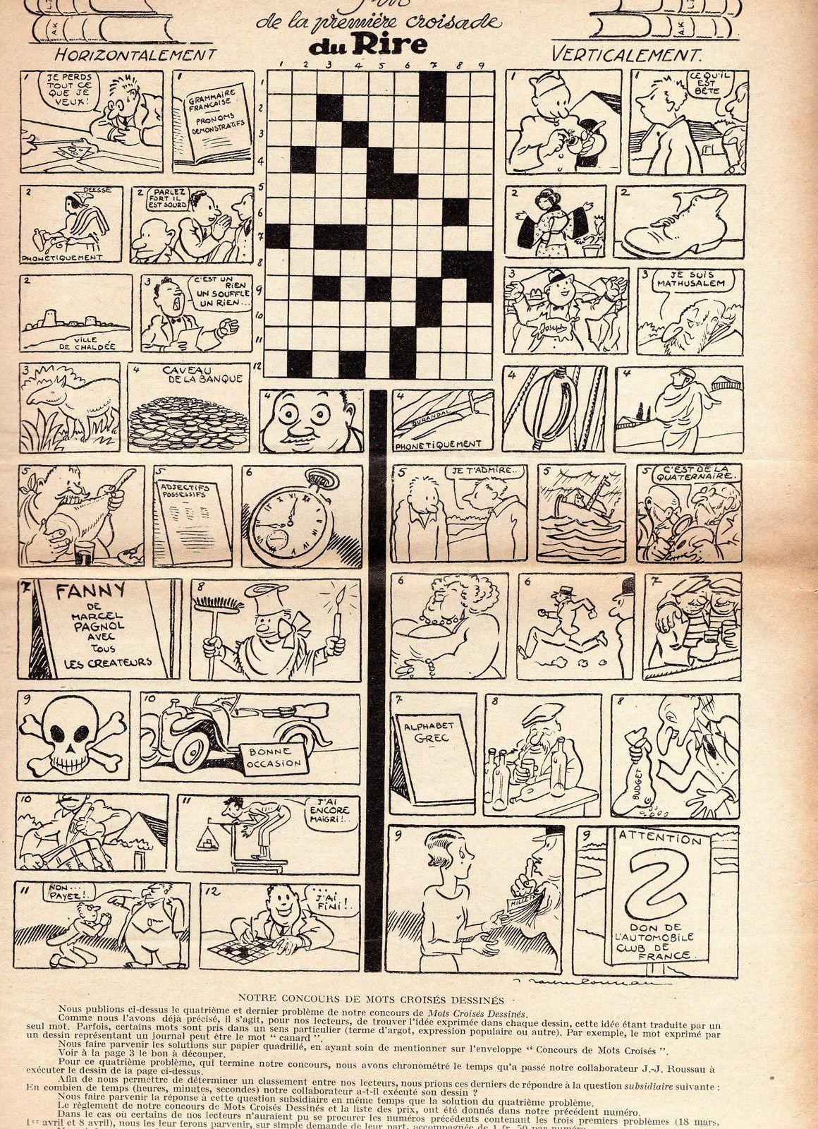 Rubrique à brac : Des mots croisés... dessinés (Le Rire, 1933)