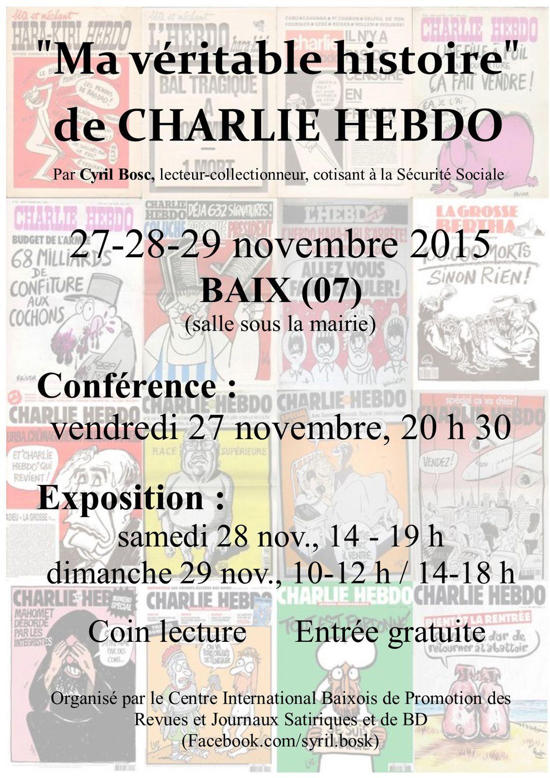 MA VERITABLE HISTOIRE DE CHARLIE HEBDO : expo et conférence de Cyril Bosc
