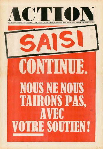 """""""Action"""", journal contestataire fondé en mai 1968"""
