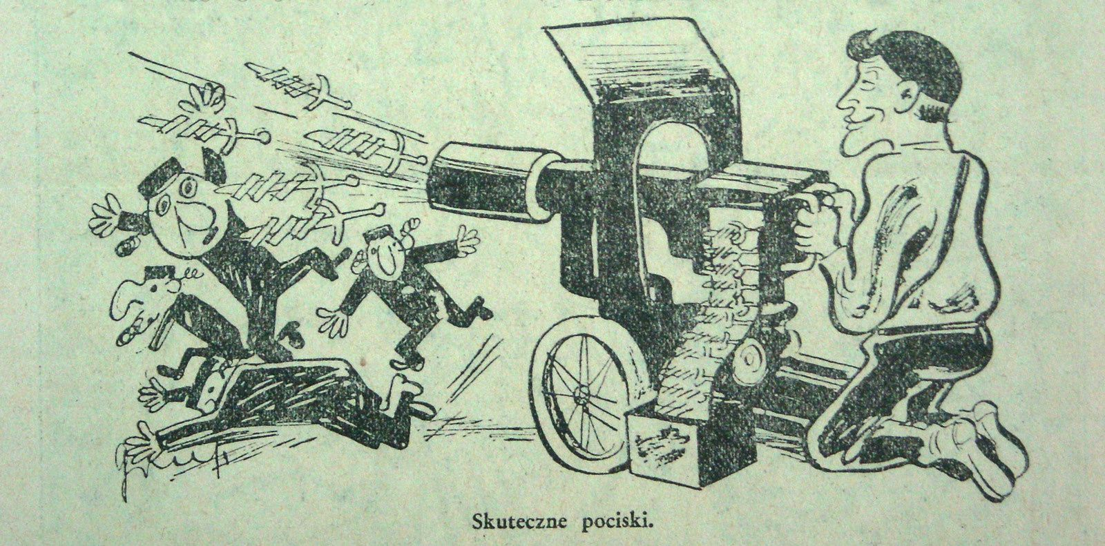 Kazimierz Grus,  Effective missiles (1935). This cartoon shows young Polish nationalist shooting the Jews with co-called Chrobry's swords - the sign of Polish nationalists in 1930.
