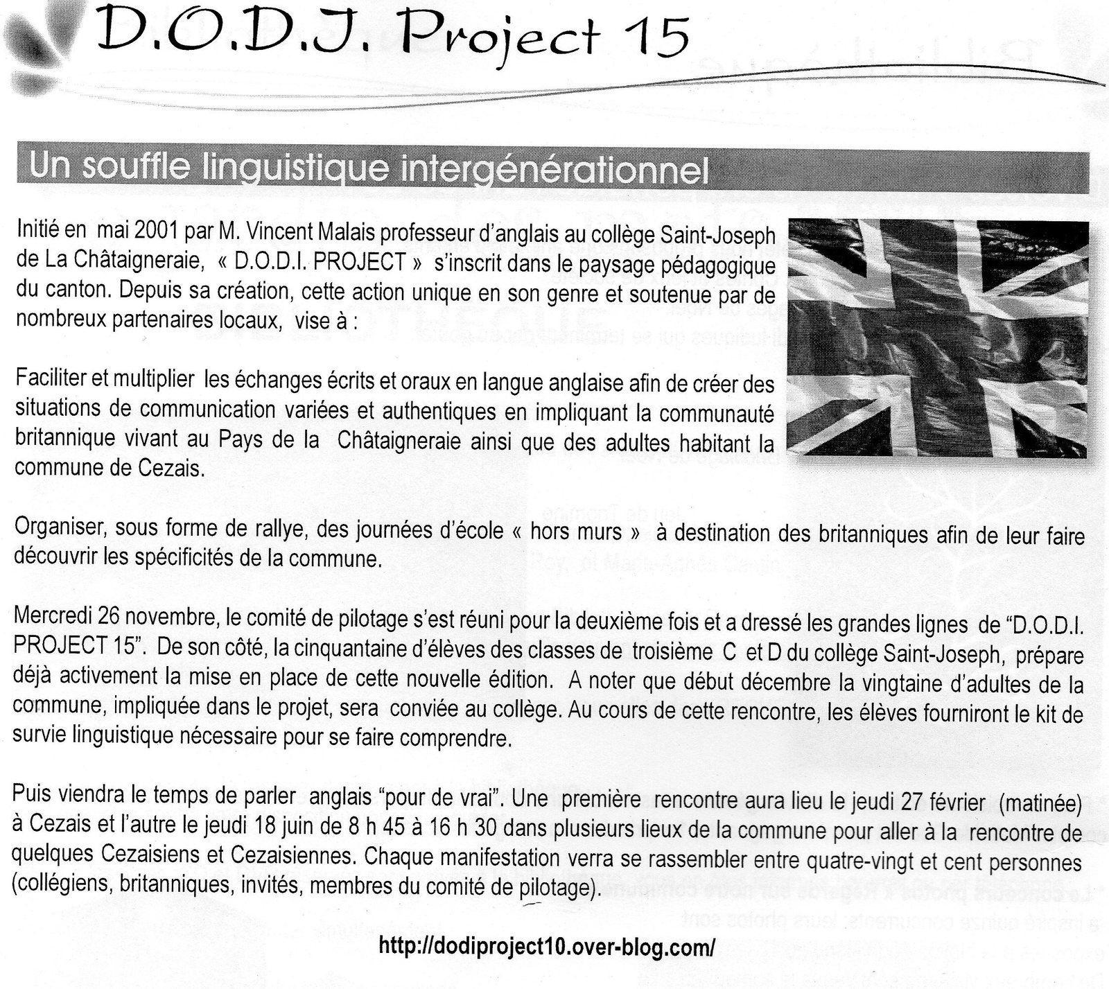 D.O.D.I. PROJECT 15 - CEZAIS - ARTICLE BULLETIN COMMUNAL