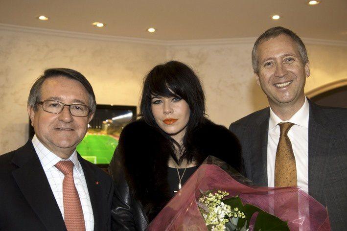 Da sin. Paul Masseron, Ministro degli Interni con delelga alla Cultura, Alex Hepburn ed il Vice Presidente CEO dell'AS Monaco, Vadim Vasilyev