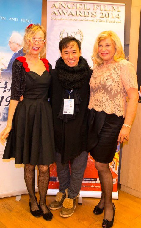 Photo left:  Rosana Golden (festival director), Junichi Kajioka  (director, actor Japan), Jacqueline Lestrade (journalist) - Photo below: Winner of five awards 'My Christmas Wish' US actor Andreas Beckett, US actress Tara Emerson Scheibel, and US director James Tumminia