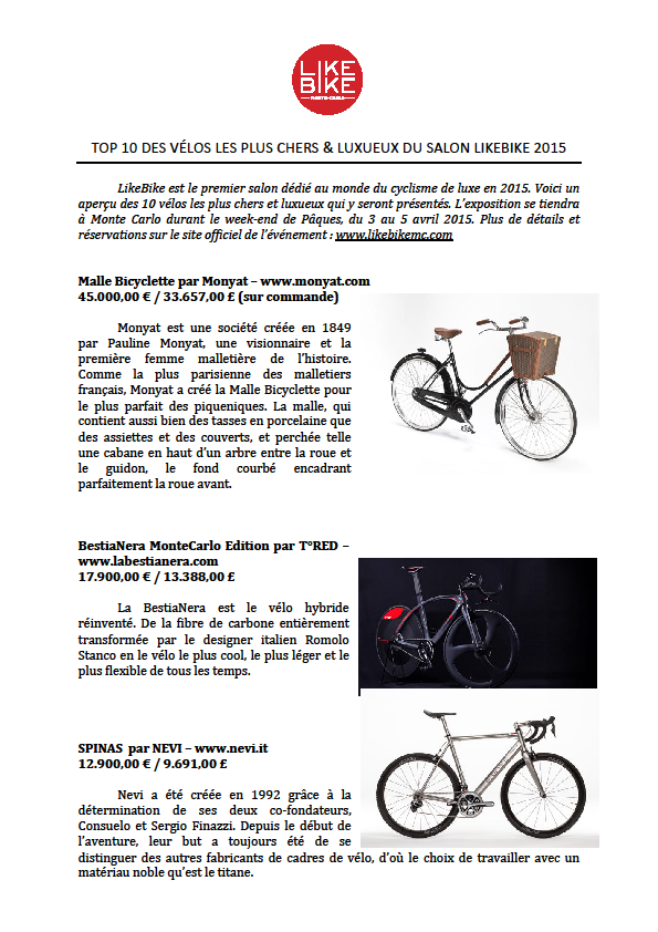 GRIMALDI FORUM: LE PREMIER SALON LIKE BIKE