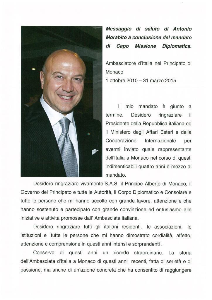 ANTONIO MORABITO: MESSAGGIO DI SALUTO DELL'AMBASCIATORE AI RESIDENTI ITALIANI DI MONACO