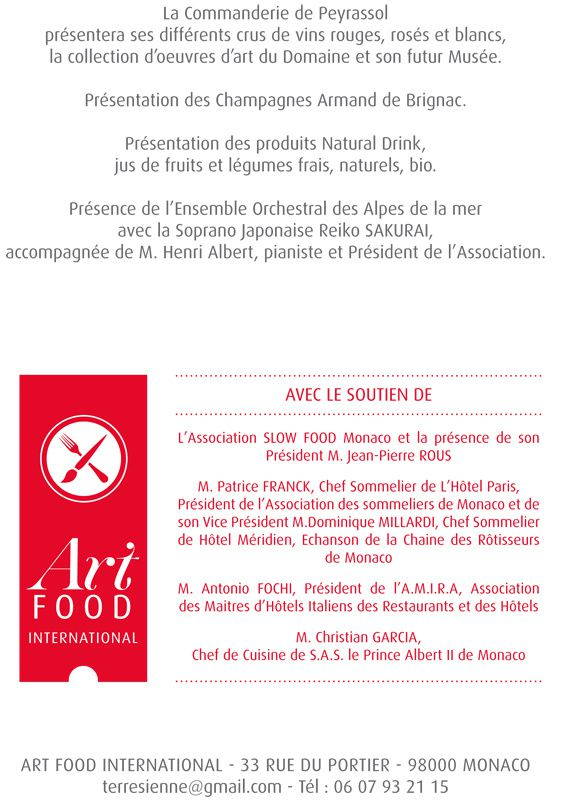 MONACO ART FOOD INTERNATIONAL