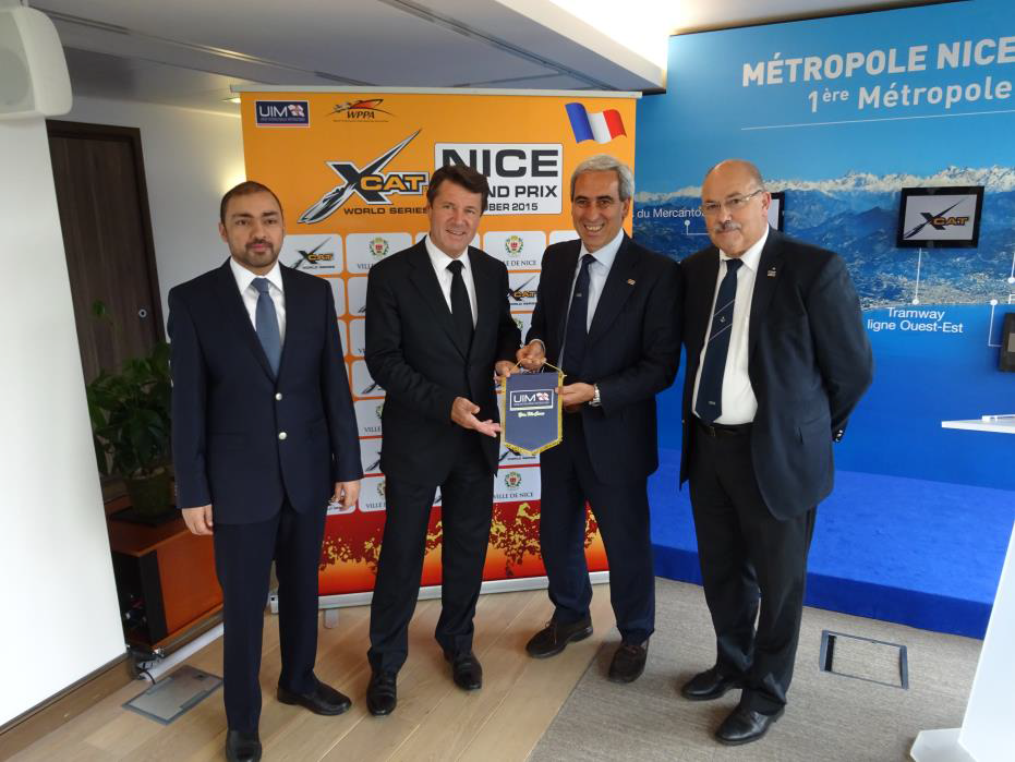 From left to right: Dr. Khalid Al Zahed, DIMC and WPPA Vice President, Mr. Christian Estrosi, Deputy Mayor of Nice and President of the Metropole Nice Côte d'Azur, Dr. Raffaele Chiulli UIM President, Mr. Jean-Marie Lhomme, French Powerboating Federation President
