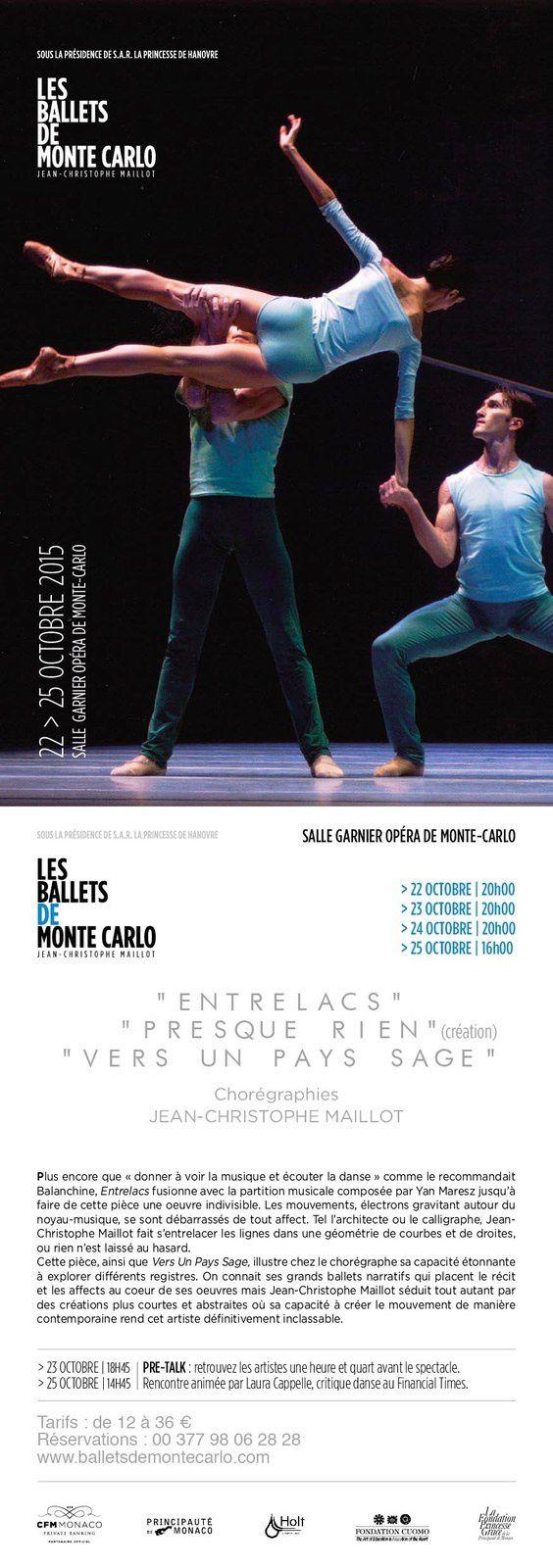 Les Ballets de Monte-Carlo : du 22 au 25 octobre 2015 à la Salle Garnier - Avec une nouvelle création de Jean-Christophe Maillot - Opéra de Monte-Carlo