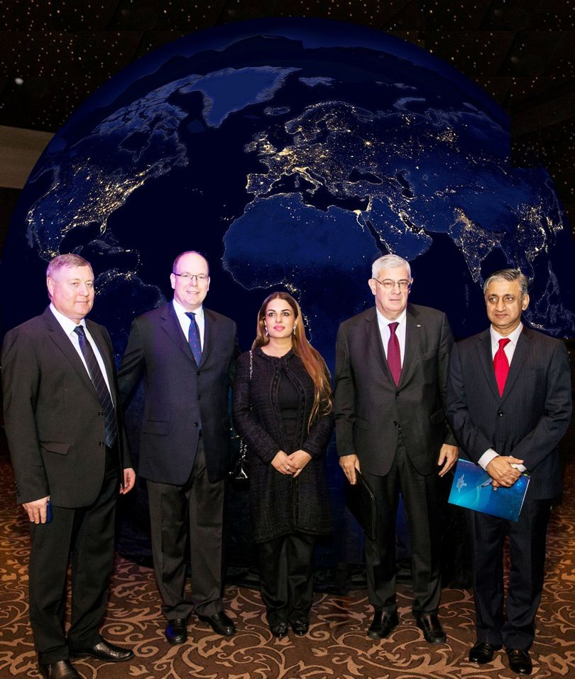 "L to R: Mr. Sergey Saveliev, Deputy Director General State Space Corporation ROSCOSMOS&#x3B; HSH Prince Albert II of Monaco&#x3B; Namira Salim, Founder Space Trust&#x3B; HE Henri Fissore, Ambassador at Prime Minister's Office & Head of the Committee of ""2015 - Russian Year in Monaco&#x3B;"" Major General Qaiser Anees Khurram, Chairman SUPARCO, National Space Agency of Pakistan."