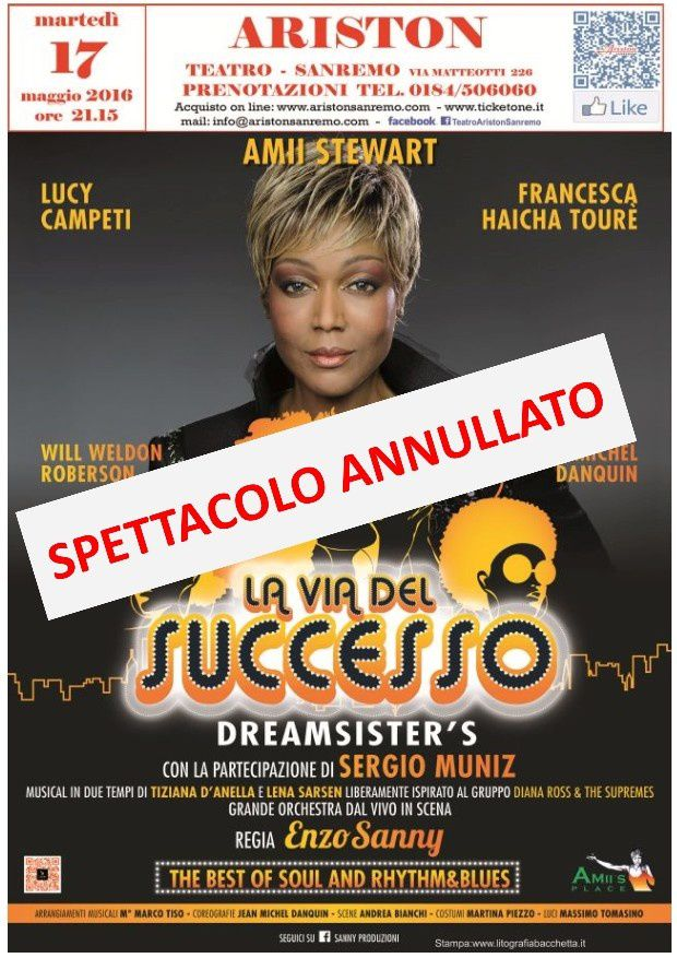 "ANNULLATO ALL'ARISTON LO SHOW ""LA VIA DEL SUCCESSO"""