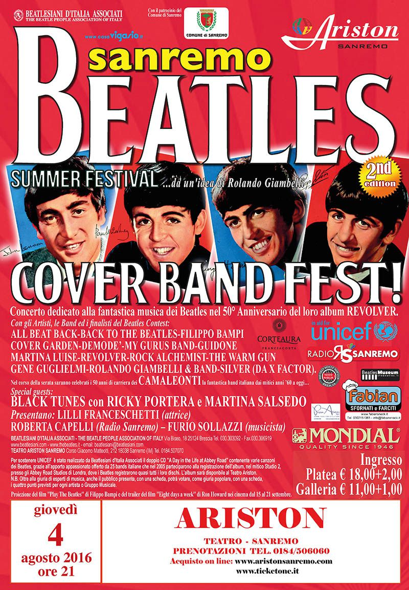 "SANREMO BEATLES SUMMER FESTIVAL 2016: ""Cover Band Fest!"""