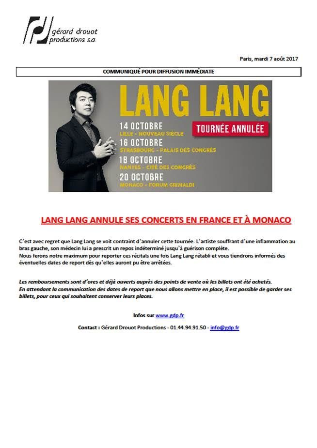 LANG LANG CANCELLED
