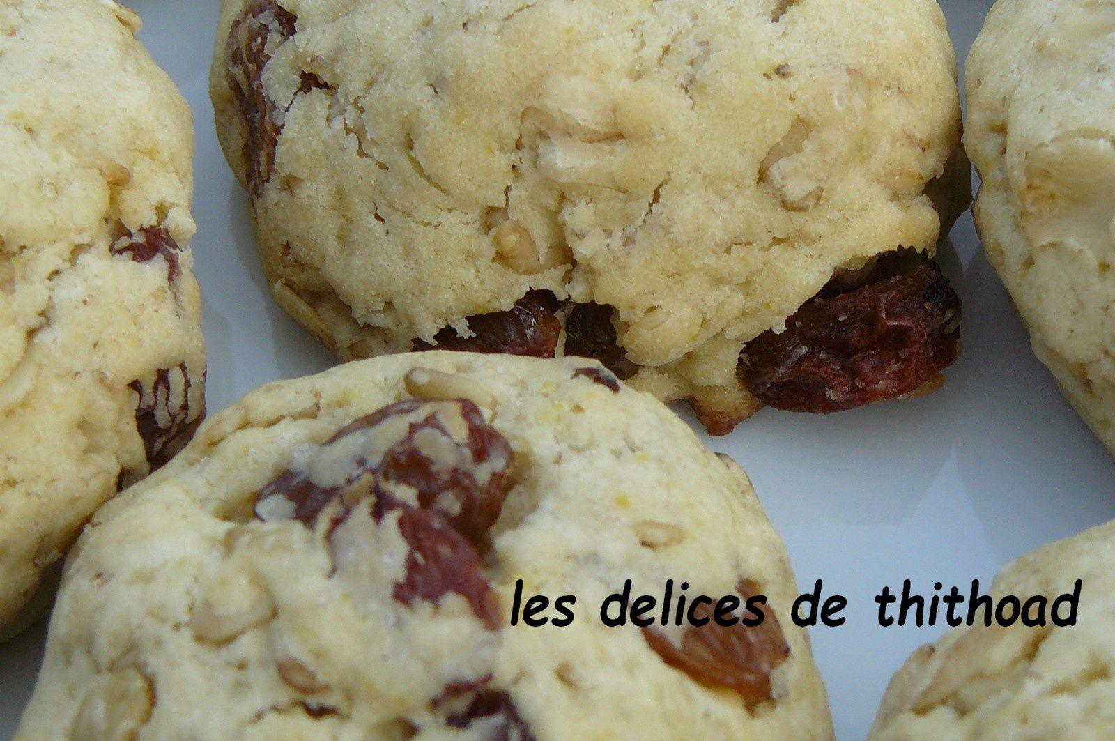 cookies aux flocons d'avoine et raisins secs