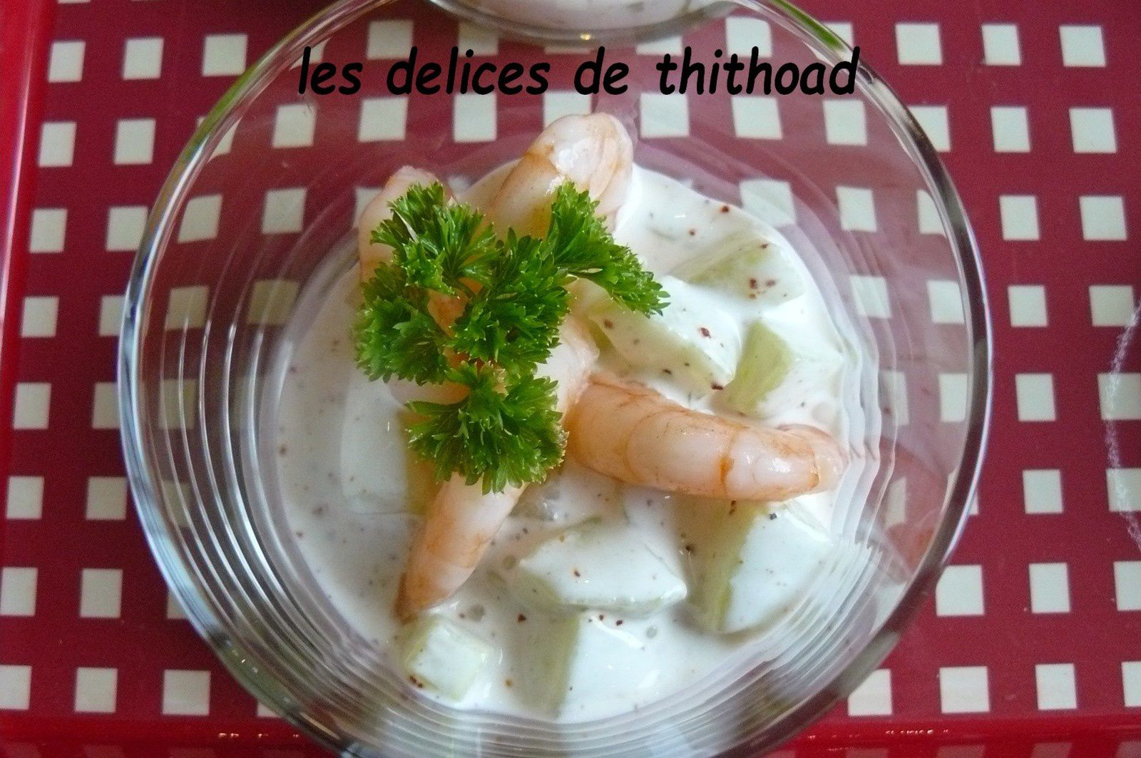 verrine concombre et crevettes