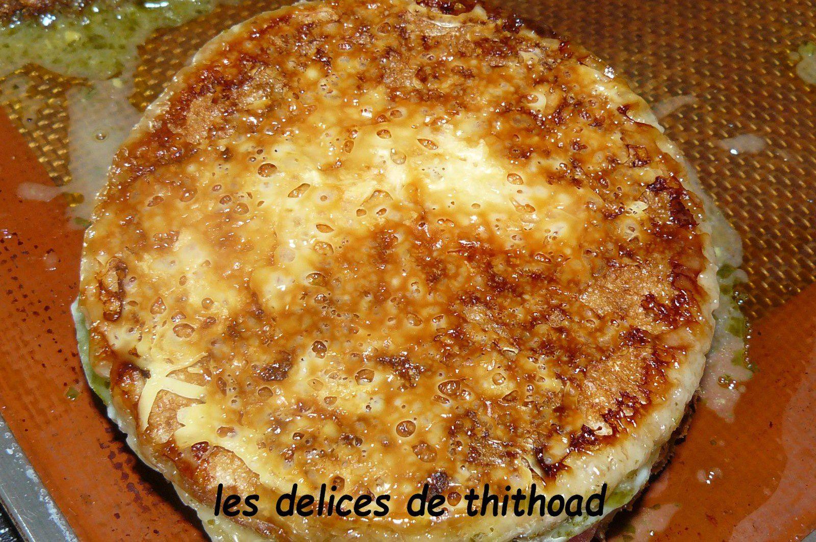 croque monsieur courgette, pesto et fromage de chèvre