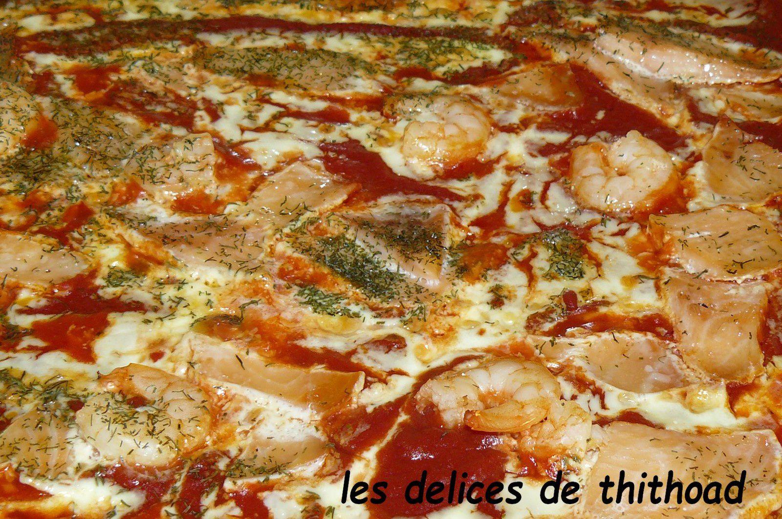 pizza au saumon et crevettes