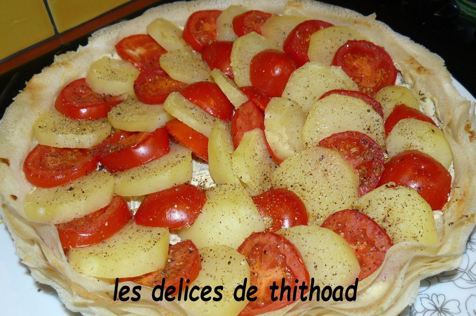 3 ingrédients pour une recette : une tarte pommes de terre et tomates