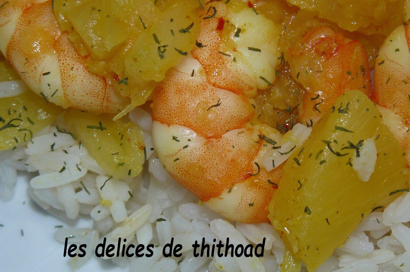 curry de gambas à l'ananas