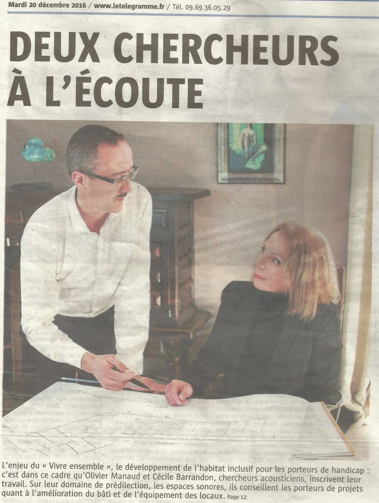 Article dans le journal LE TELEGRAMME